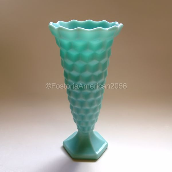 "Fostoria | American | Aqua Milk Glass | 6"" Flared Bud Vase"