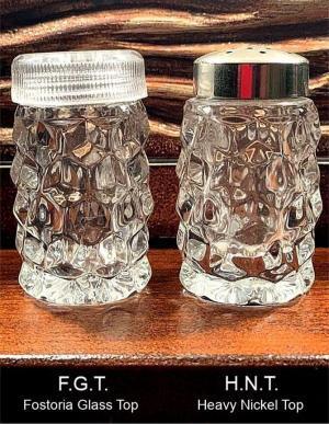 Fostoria American Salt Shakers No. 1 - F.G.T. & H.N.T.