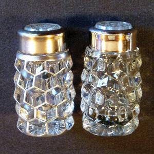 """Fostoria American Shaker, """"W"""" Top - Silver Overlay Comparison"""