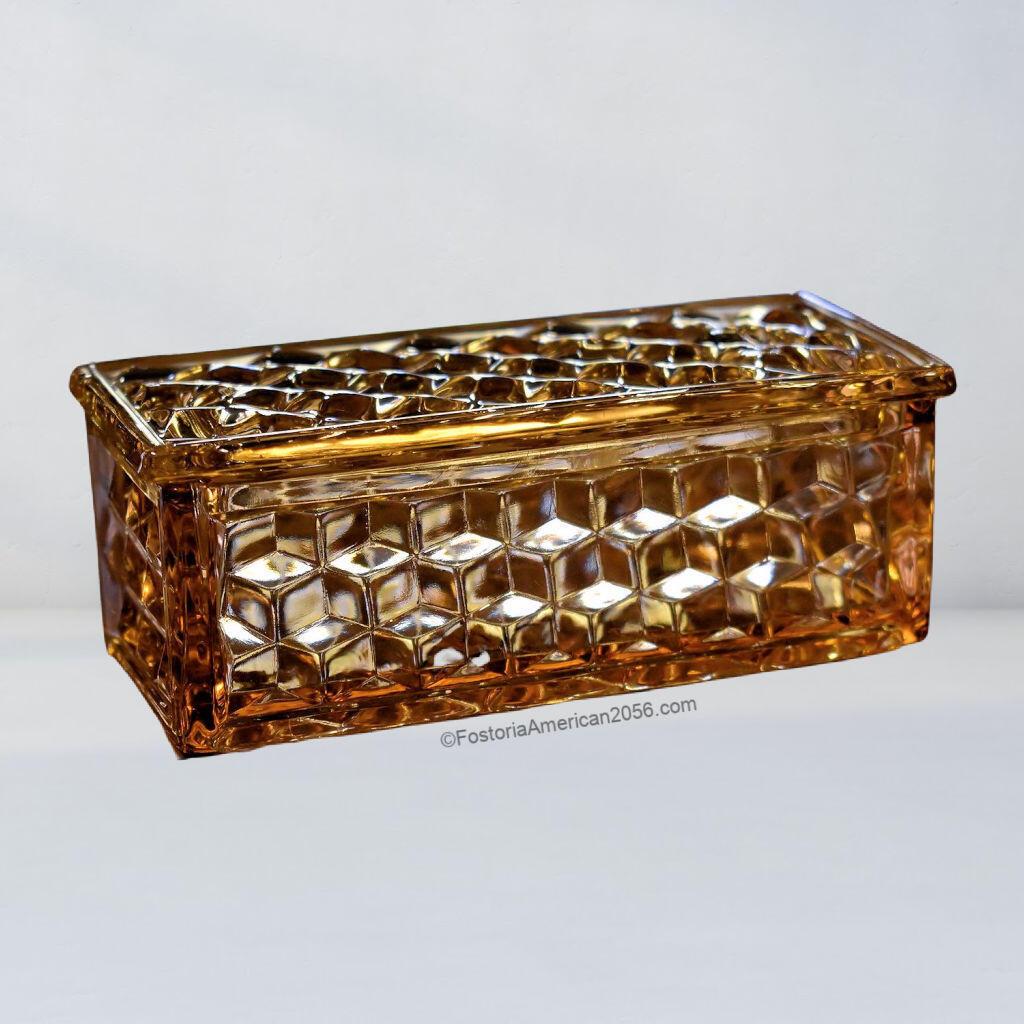Fostoria American Small Cigarette Box & Cover - Amber
