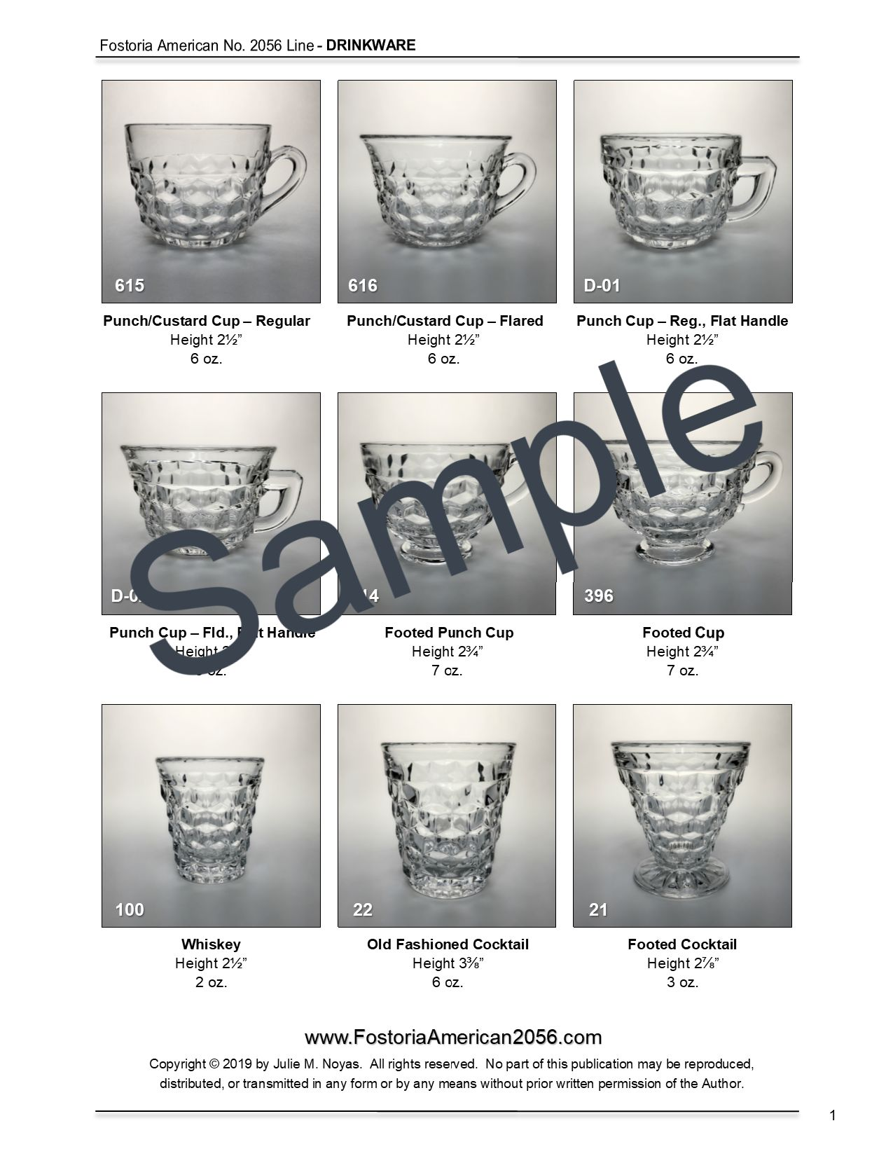 Fostoria American Drinkware PDF Report Sample